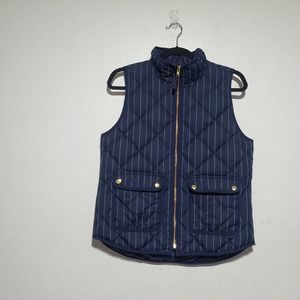 J. CREW Excursion Down Feather Quilted Vest Women Small Navy Pinstripe Quilted